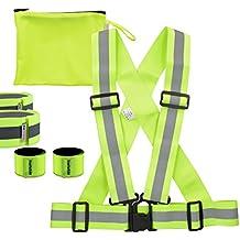 Set de seguridad kwmobile - Chaleco, 2brazaletes y 2cintas reflectantes en amarillo neón- Chaleco reflectante para correr, ir en bicicleta, a caballo