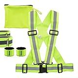 kwmobile Set di Sicurezza Bretelle Riflettenti 6 in 1-1 imbragatura S-M 2 Bande Braccia Caviglie 2 Fasce 1 Tasca Giallo Neon per Auto Bici Sport