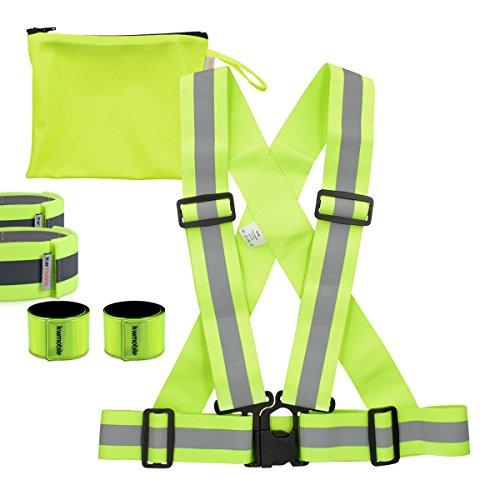 kwmobile 6in1 Set Reflektor Sicherheitsweste - 1x Warnweste S-M 1x Reflektorarmband 2x Reflektor-Schnapparmband 1x Aufbewahrungstasche in Neon Gelb (Fahrrad Gelb T-shirt)