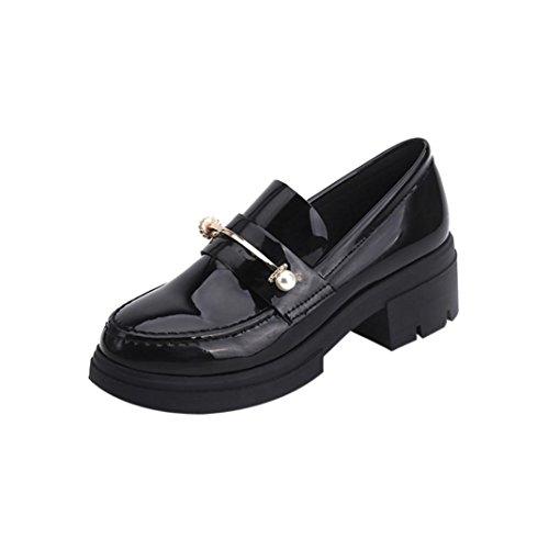 Leder-patent Leder Heels (squarex Damen Spring Casual Schuhe Patent Leder Schuhe Knöchel Schuhe 5.5 UK/ Foot Length:231-235mm schwarz)