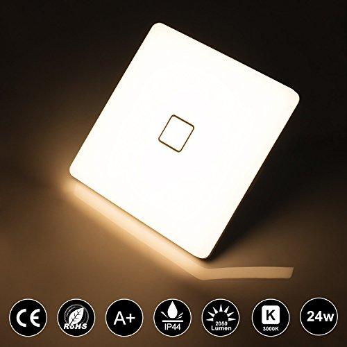 Ouesen 24W LED Deckenleuchte Warmweiß Deckenlampe IP44 Wasserfest LED Feuchtraumlampe 3000K 2050 Lumens Nassraumleuchte für Badzimmer Wohnzimmer Küchen den Flur Panel Leuchte [Energieklasse A++]