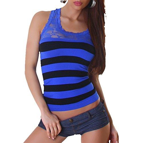 B[ ]X - Débardeur - Maillot de corps - À Rayures - Col Chemise Classique - Femme Multicolore - Bleu/noir