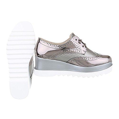 Ital-Design , Chaussures à lacets femme Grau Silber