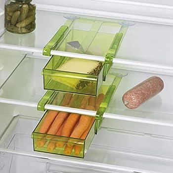GOURMETmaxx 3x Klemm-Schublade für Kühlschrank transparent platzsparend Ordnung