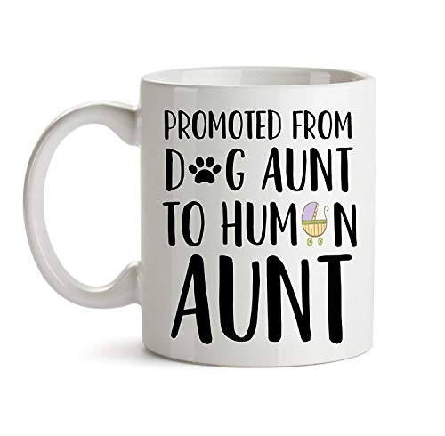 TK.DILIGARM Promoted to Aunt Mug - Funny Cute Dog Pregnancy Announcement Baby Reveal Gift - Coffee Tea Cup for Sister New Auntie to Be Surprise Idea - Jumbo Ceramic Mug