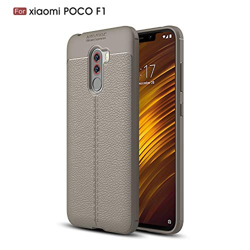 CruzerLite Xiaomi Pocophone F1 מקרה, גמיש סלים מקרה עם מרקם עור תבנית אחיזה וקליטה הלם TPU כיסוי עבור Xiaomi Pocophone F1 (אפור)