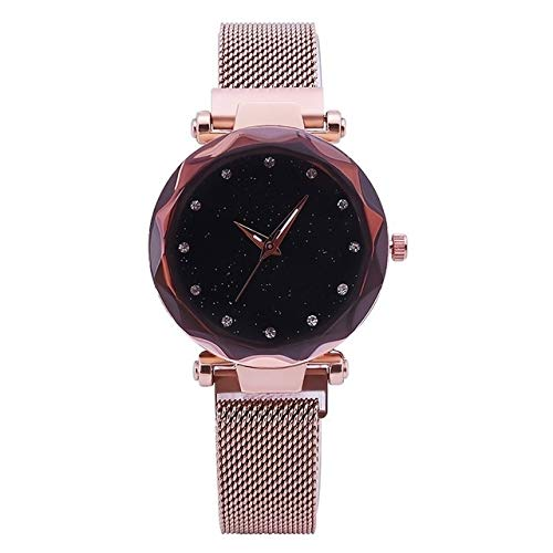 Warmhome WARM nach Hause Persönlichkeit Mesh Damen Uhr Magnet Schnalle Sternenhimmel Diamant Geometrische Quarz Armbanduhr Frauen Uhren (Color: : Rotgold)