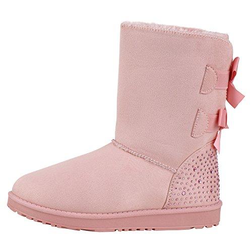 Damen Schlupfstiefel Strass Satin Optik Schleifen Warm Gefütterte Stiefel Wildleder Optik Boots Flache Winter Schuhe Rosa 39 Jennika (Anzug Satin Gefüttert)