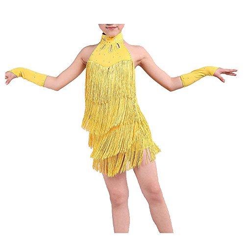 ikanischer Tanz Kleid Maedchen 130cm Latin Franse Kleid Ballsaal Tanz Kostuem Tanzen Kleidung gelb (Ballsaal Tanz Kostüme)
