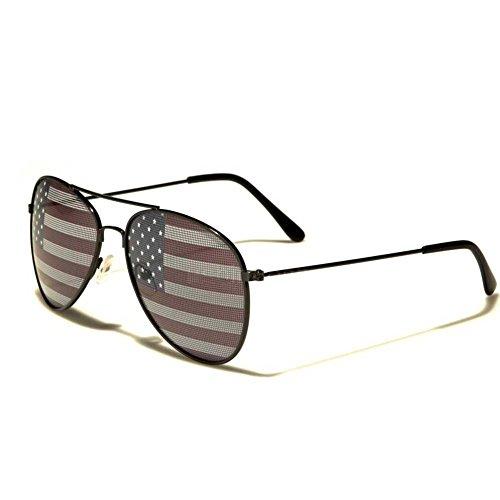 Amerikanische Flagge Aviator-Sonnenbrille mit schwarzen Rahmen USA 4. Juli Unabhängigkeitstag