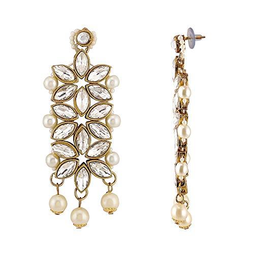 Mann Jewels Kundan Pearl Necklace, Earrings and Maang Tikka Jewellery Set for Women (White)