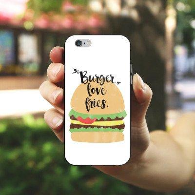 Apple iPhone X Silikon Hülle Case Schutzhülle Burger Fastfood Essen Silikon Case schwarz / weiß