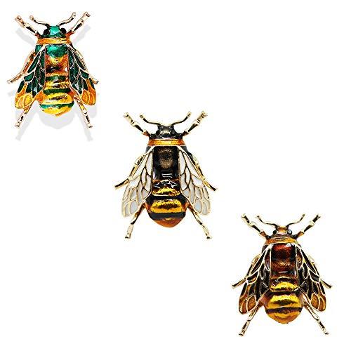 CAILI 3 pcs Broche Abeilles, Broche Goutte à Goutte Personnalisée, Broche Insecte Vintage, Accessoires Parfaits pour Hommes et Femmes (jaune + blanc + vert)