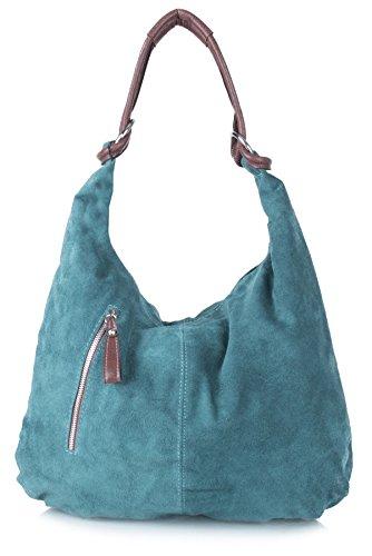 in Big a vera Teal donna Shop NL368 spalla pelle scamosciata Handbag da Borsa grande italiana fHWfwqp8