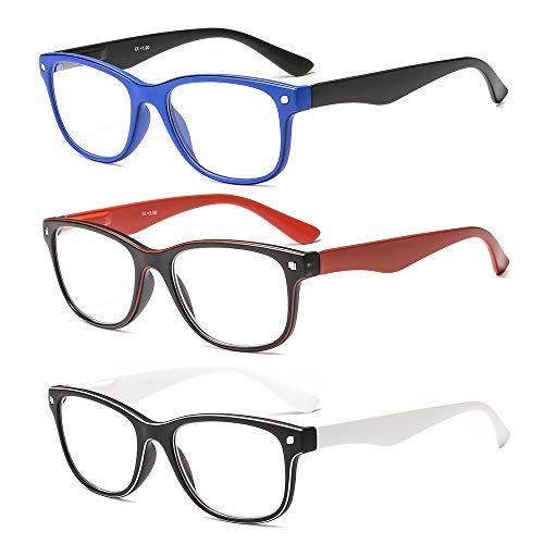 Suertree Lesebrille 3 Pack Computer Brille Herren Damen Lesehilfe für Frauen Männer Fashion Leser 3.0X JH241
