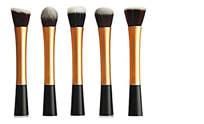 LyDia® UK STOCK Professional 5pcs ROSE GOLD flat top foundation/angled blusher/face powder/stippling/face contour makeup brush set