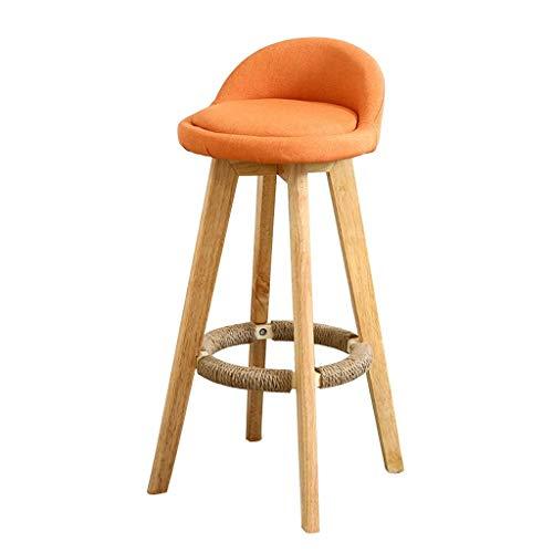Barhocker Barhocker, Restaurant Leisure High Stool, Niedriger Leinenhocker, Home Kitchen Counter Rotierender Bankhocker Geeignet für Wohnzimmer, Bars, Cafés (Color : Orange) - Chrom Solide Basis