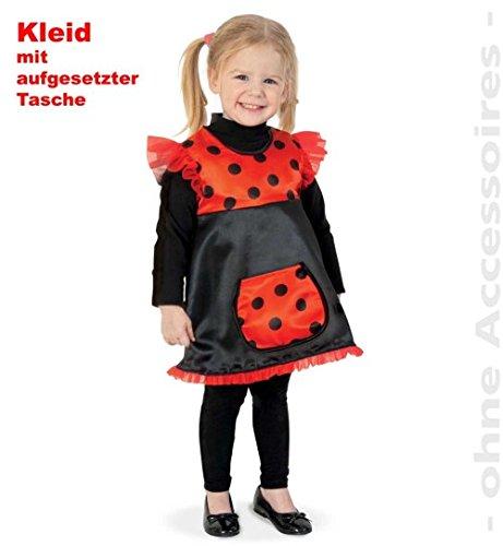 Marienkäfer Kleid Käferchen 92 mit aufgesetzter Tasche Baby Kleinkind Fasching Kinder - Kostüm