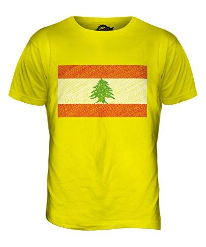 CandyMix Libanon Kritzelte Flagge Herren T Shirt Zitronengelb