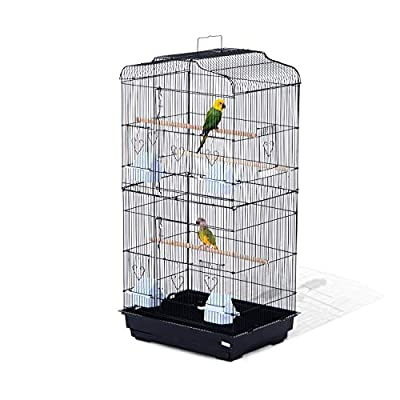 PawHut Large Metal Bird Cage for Parrot Parakeet Macaw Pet Supply Black 47.5L x 36W x 91H (cm) from MH STAR UK LTD