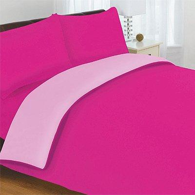 Lines Limited - Fundas reversibles de edredón y almohadas para cama de matrimonio de 200 x 200 cm, color fucsia y
