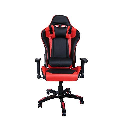 HG Silla Giratoria De Oficina Gaming Chair Apoyabrazos Acolchados Premium Comfort Silla Racing Capacidad De Carga 200 Kg Altura Ajustable Negro / Rojo