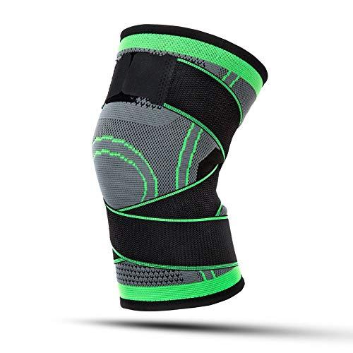 HermosaUKnight Männer & Frauen Sport Kniepackungen Kniebänder Kompression Elastische Fitness Unterstützung-Grün (XL) -
