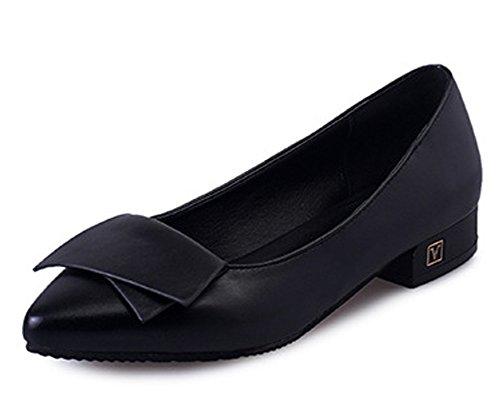 Minetom Mujer Verano Otoño Moda Zapatos Del Barco Apuntado Zapatos Con Tacón Grueso Negro 39
