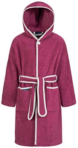 Morgenstern Baumwoll Kinderbademantel mit Kapuze einfarbig, Gr. 146/158,Lila Pink (Mädchen Rot Mäntel)