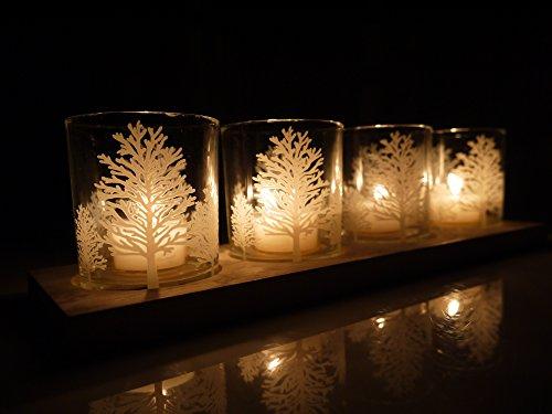 """khevga Windlicht Tablett """"Weiße Weihnachten"""""""