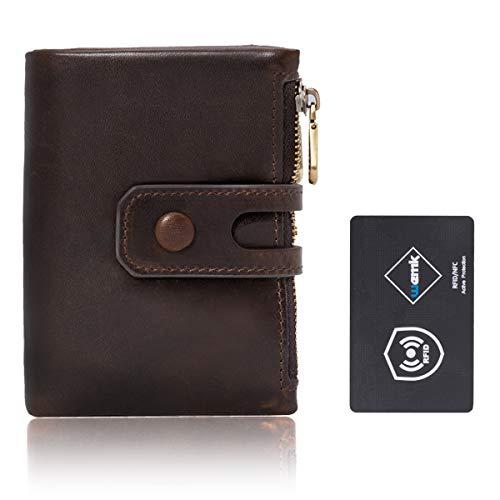 Wemk Geldbörse Herren Echt Leder im Hochformat mit Doppelter RFID/NFC Schutz Portmonee mit Vielen Kartenfächer und Münzfach Reißverschluss - Braun -