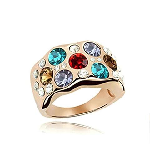 KnSam Bague de Mariage Argent Anneau Femme Wide Circle Cristal Rose Or Multicolore Taille 52.5 [Novelty Ring]