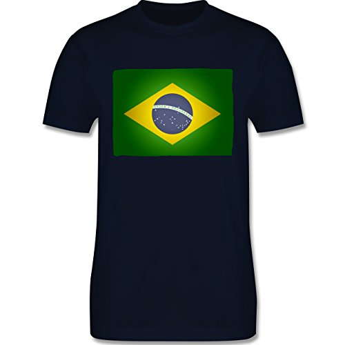 Länder - Flagge Brasilien - Herren Premium T-Shirt Navy Blau