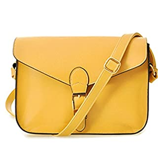 Tote Bag - All4you Lady Designer Satchel Shoulder Bags Messager Purse Handbag in Preppy Style(Yellow)
