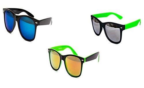 3 er Set Nerd Sonnenbrille Partybrille Festival Sunglass Atzen Brille Schwarz Weiß Neon Grün D327