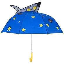 Ombrello per Bambini, Rainbrace Ombrello da Pioggia per Bambino e Bambina con Orecchie 3D, navicella spaziale