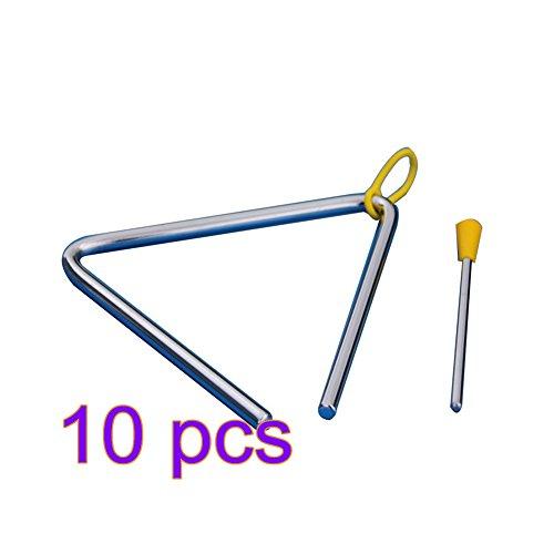 Demarkt Musik Triangel aus Stahl für Schule Kinder Früherziehung mit Schlägel 4 Zoll (Silberfarbe 10 Stück)