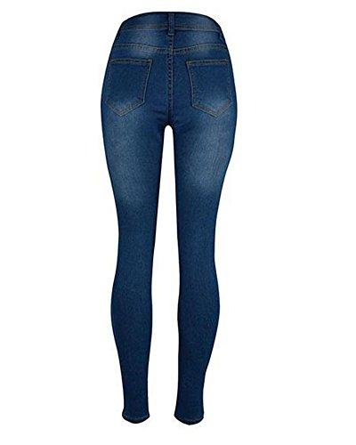 Donna Ginocchio Strappato Skinny Jeans Pantaloni A Vita Alta Legging Come Immagine