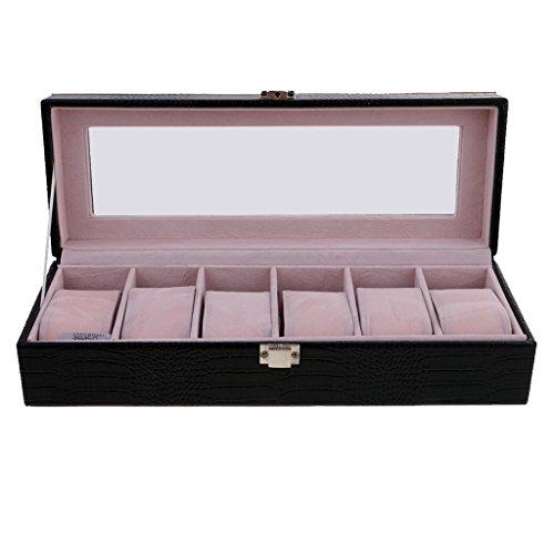 MagiDeal Stilvoll Uhren Box für 6 Uhren Uhrenkasten mit Glas Deckel Geschenk für Frauen Männer - Schwarz