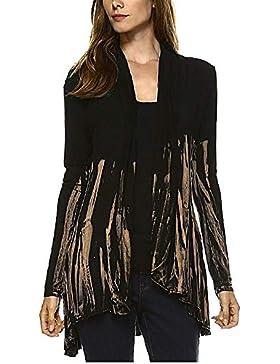 QinMM Cárdigan de gradiente asimétrico de Mujer, Blusa Camisa de Fiesta Casual a Rayas