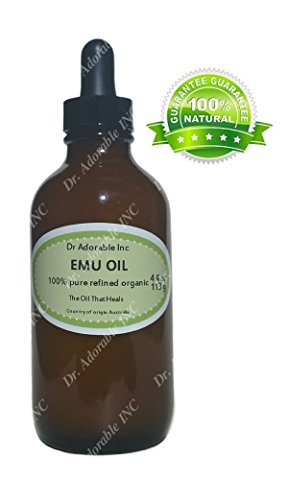 Emu Oil 100% Pure Organic Moisturizing Oil For Face Skin Hair Growth Stretch Marks And More Fully Refined 4 Oz Glass Amber Bottle with Glass Dropper