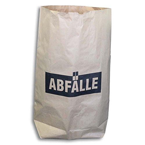 25x Papier-Abfallsäcke, Müllsäcke, Abfallbeutel, Kraftpapier, 2-lagig, Braun mit Druck