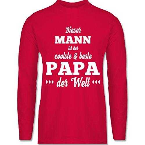 Shirtracer Vatertag - Dieser Mann ist der Coolste und Beste Papa - Herren Langarmshirt Rot