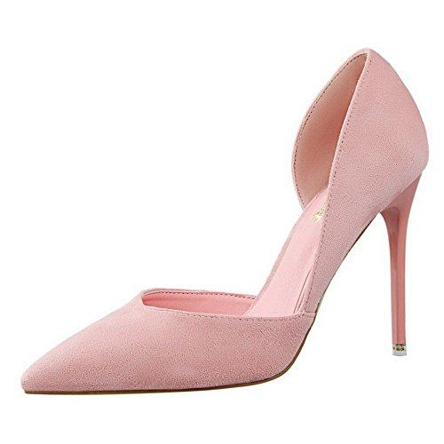 Pumps Zehe Aalardom mattglasbirne Stiletto Schuhe Auf Pink Rein Damen Ziehen Spitz tq0waPfq