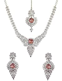 Touchstone Sliver & Red Austrian Diamonds Necklace Set With Maang Tika For Women