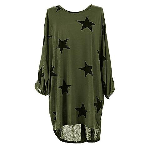 Damen Oversized Tunika Kleid Elegant Asymmetrisch Langarm Stern-Druck Baggy Lose T-shirt Tops Bluse (XL, Grün)