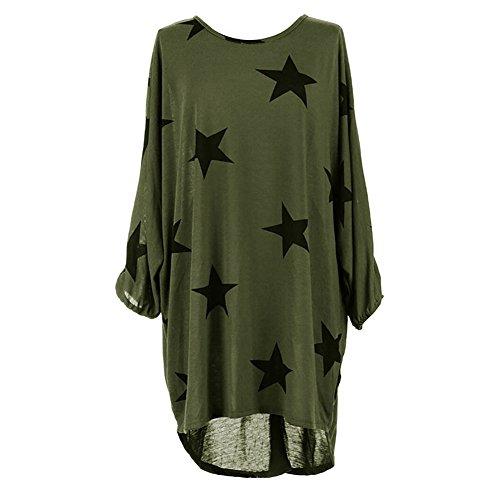 Damen Oversized Tunika Kleid Elegant Asymmetrisch Langarm Stern-Druck Baggy Lose T-shirt Tops Bluse (M, Grün)