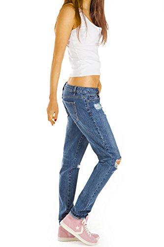 Bestyledberlin Damen Jeans Hosen, Baggy Boyfriend Jeans, Hüftjeans Destroyed Style j80kw Denim Blue