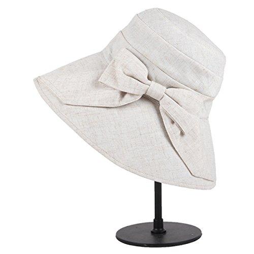 Beret Printemps Et En été Mme Pliable Loisirs Et Chapeau De Tourisme Décoration Arc Chapeaux De Vacances Beige