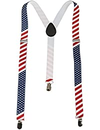 2.5cm Bretelles Y Réglable avec 3 Clips Elastiques de Motif Drapeau Américain pour Homme Femme